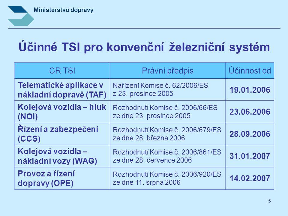 Ministerstvo dopravy 5 Účinné TSI pro konvenční železniční systém CR TSIPrávní předpisÚčinnost od Telematické aplikace v nákladní dopravě (TAF) Naříze