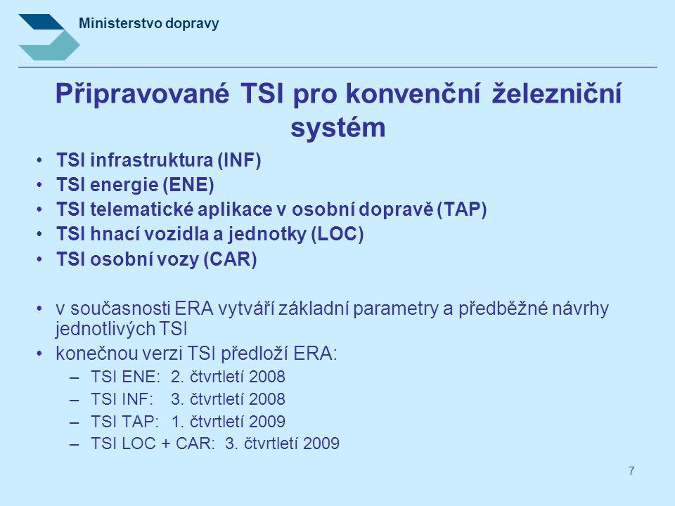 Ministerstvo dopravy 7 Připravované TSI pro konvenční železniční systém TSI infrastruktura (INF) TSI energie (ENE) TSI telematické aplikace v osobní d
