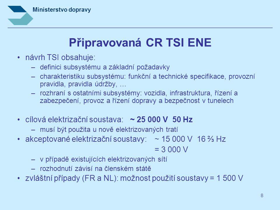 Ministerstvo dopravy 8 Připravovaná CR TSI ENE návrh TSI obsahuje: –definici subsystému a základní požadavky –charakteristiku subsystému: funkční a te