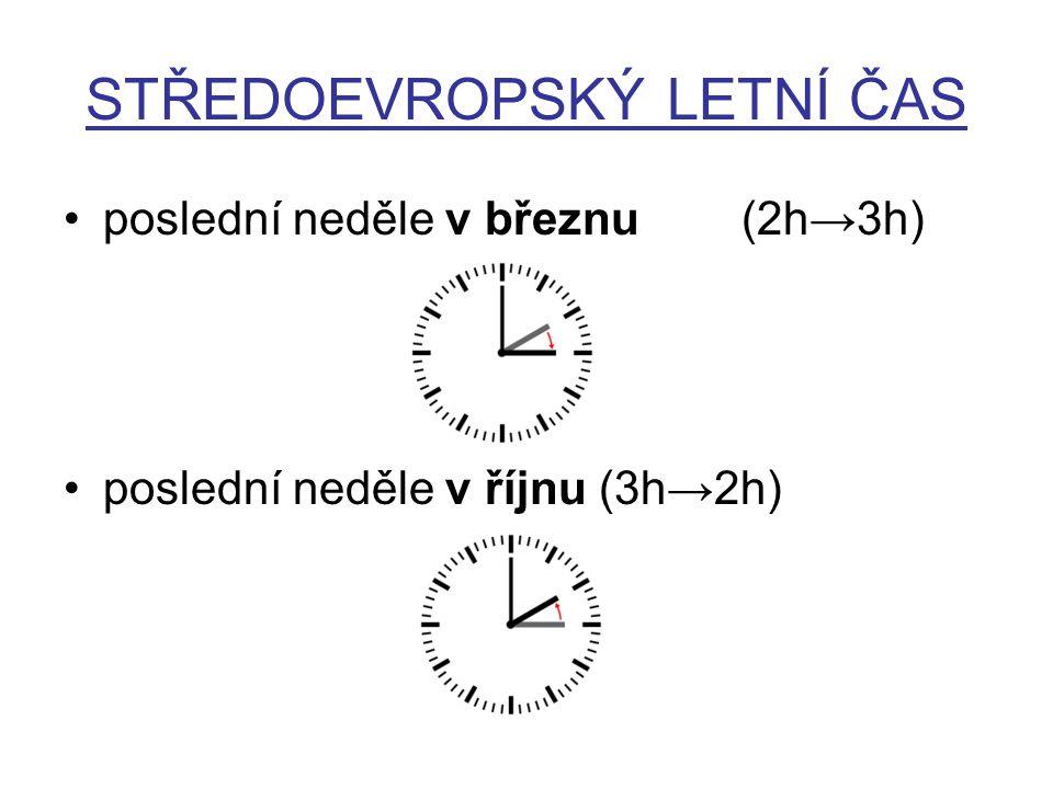 STŘEDOEVROPSKÝ LETNÍ ČAS poslední neděle v březnu (2h→3h) poslední neděle v říjnu (3h→2h)