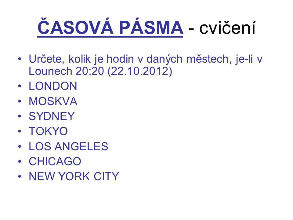 ČASOVÁ PÁSMA - cvičení Určete, kolik je hodin v daných městech, je-li v Lounech 20:20 (22.10.2012) LONDON MOSKVA SYDNEY TOKYO LOS ANGELES CHICAGO NEW