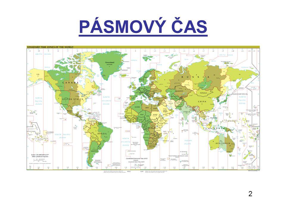 ČASOVÁ PÁSMA - řešení Určete, kolik je hodin v daných městech, je-li v Lounech 20:20 (22.10.2012) – UTC+1 (letní čas*), UTC=18:20 LONDON (UTC) – 19:20* MOSKVA (UTC+4) – 22:20 SYDNEY (UTC+10) – 5:20* (23.10.) TOKYO (UTC+9) – 3:20 (23.10.) LOS ANGELES (UTC-8) – 11:20* CHICAGO(UTC-6) – 13:20* NEW YORK CITY(UTC-5) – 14:20* http://www.timeanddate.com/worldclock/ http://www.presnycas.cz