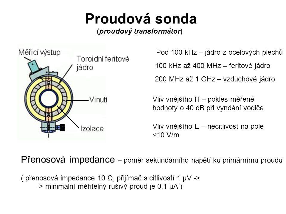 Proudová sonda (proudový transformátor) Pod 100 kHz – jádro z ocelových plechů 100 kHz až 400 MHz – feritové jádro 200 MHz až 1 GHz – vzduchové jádro