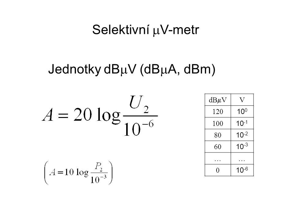 dB  V V 120 10 0 10 -1 80 10 -2 60 10 -3 …… 0 10 -6 Selektivní  V-metr Jednotky dB  V (dB  A, dBm)