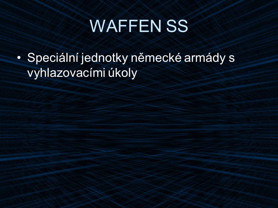 WAFFEN SS Speciální jednotky německé armády s vyhlazovacími úkoly