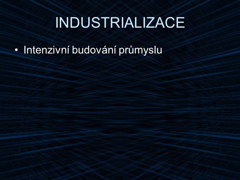 INDUSTRIALIZACE Intenzivní budování průmyslu
