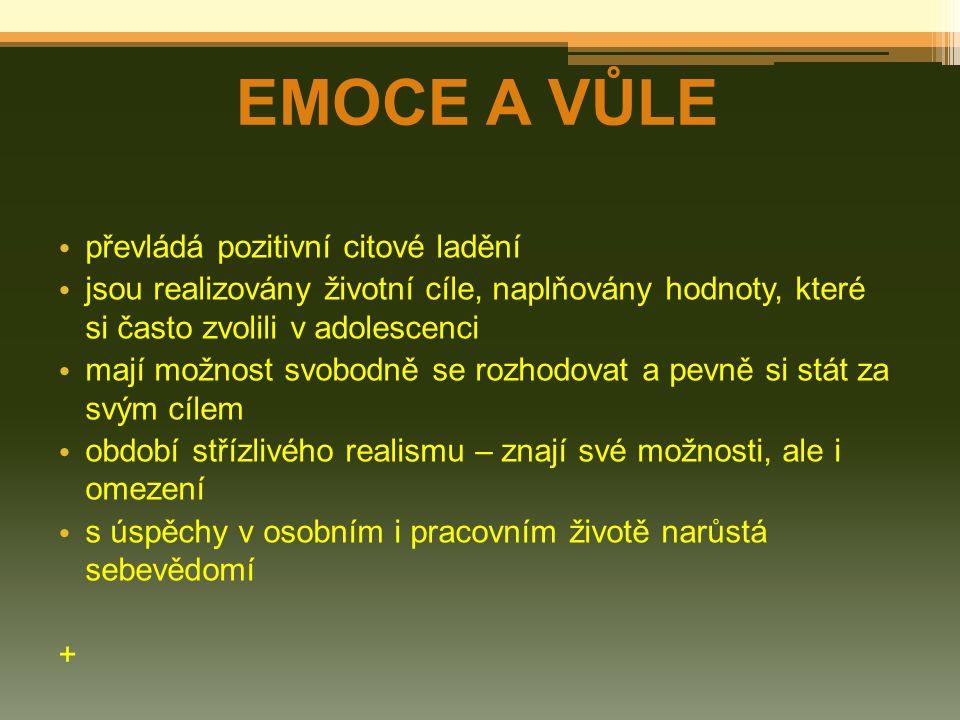 EMOCE A VŮLE převládá pozitivní citové ladění jsou realizovány životní cíle, naplňovány hodnoty, které si často zvolili v adolescenci mají možnost svo