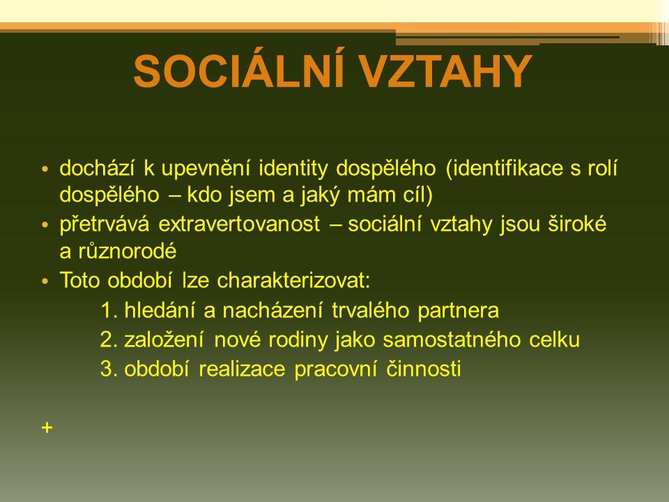 SOCIÁLNÍ VZTAHY dochází k upevnění identity dospělého (identifikace s rolí dospělého – kdo jsem a jaký mám cíl) přetrvává extravertovanost – sociální