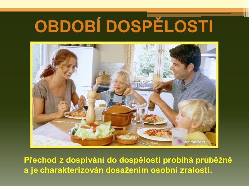 OBDOBÍ DOSPĚLOSTI Přechod z dospívání do dospělosti probíhá průběžně a je charakterizován dosažením osobní zralosti.
