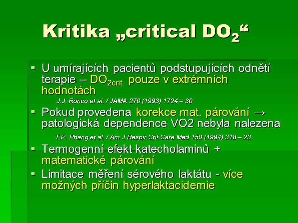 """Kritika """"critical DO 2 """" Kritika """"critical DO 2 """"  U umírajících pacientů podstupujících odnětí terapie – DO 2crit pouze v extrémních hodnotách J.J."""