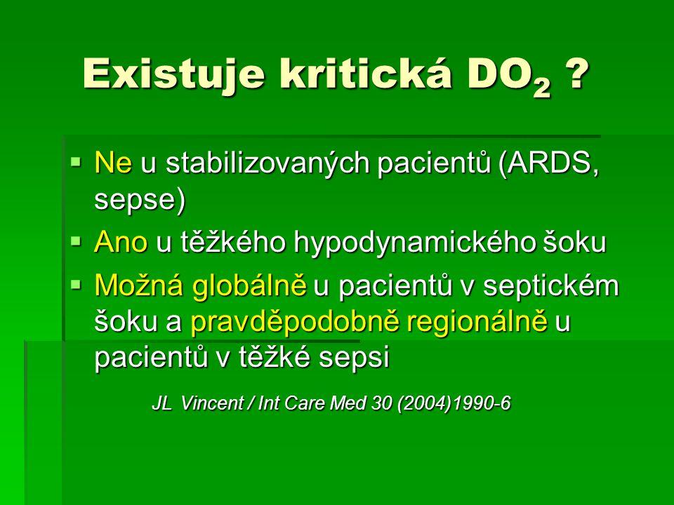 Existuje kritická DO 2 ? Existuje kritická DO 2 ?  Ne u stabilizovaných pacientů (ARDS, sepse)  Ano u těžkého hypodynamického šoku  Možná globálně