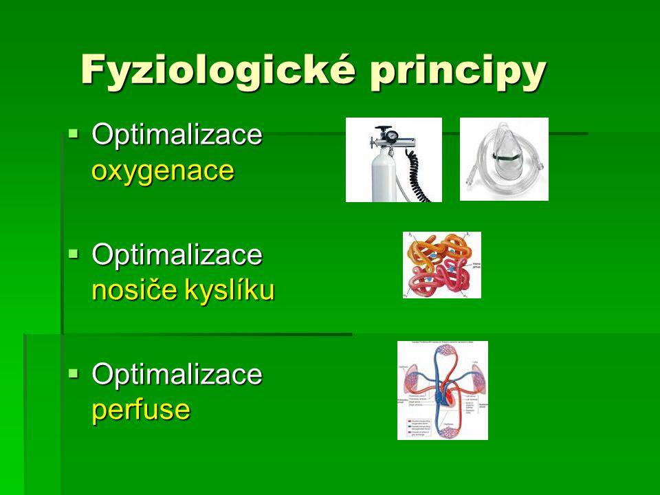 Fyziologické principy Fyziologické principy  Optimalizace oxygenace  Optimalizace nosiče kyslíku  Optimalizace perfuse