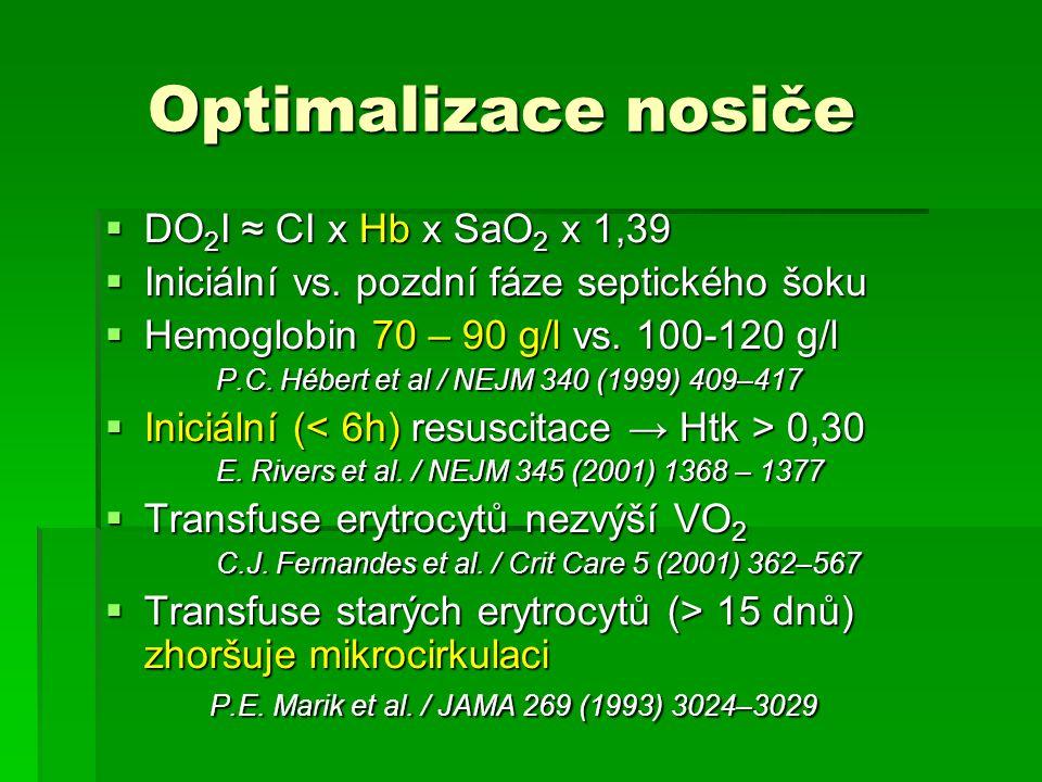 Optimalizace nosiče Optimalizace nosiče  DO 2 I ≈ CI x Hb x SaO 2 x 1,39  Iniciální vs. pozdní fáze septického šoku  Hemoglobin 70 – 90 g/l vs. 100