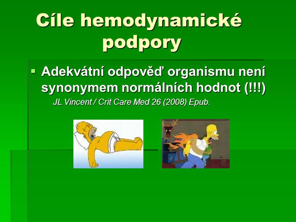 Cíle hemodynamické podpory Cíle hemodynamické podpory  Adekvátní odpověď organismu není synonymem normálních hodnot (!!!) JL Vincent / Crit Care Med