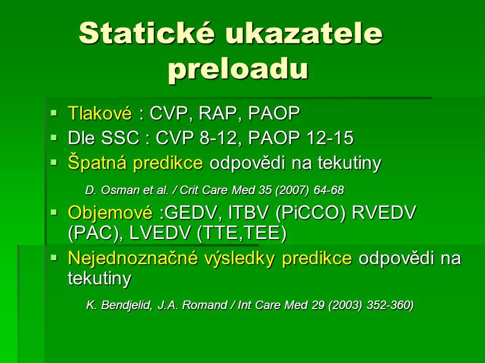 Statické ukazatele preloadu Statické ukazatele preloadu  Tlakové : CVP, RAP, PAOP  Dle SSC : CVP 8-12, PAOP 12-15  Špatná predikce odpovědi na teku