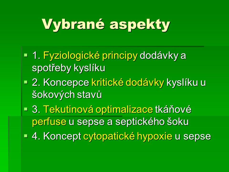 Vybrané aspekty Vybrané aspekty  1. Fyziologické principy dodávky a spotřeby kyslíku  2. Koncepce kritické dodávky kyslíku u šokových stavů  3. Tek