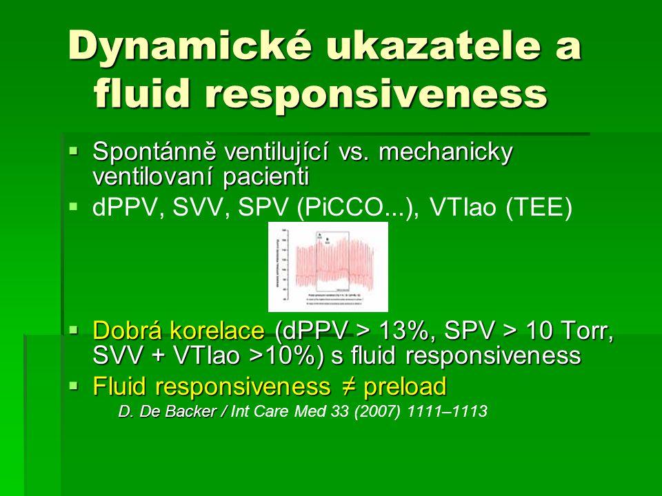Dynamické ukazatele a fluid responsiveness Dynamické ukazatele a fluid responsiveness  Spontánně ventilující vs. mechanicky ventilovaní pacienti  