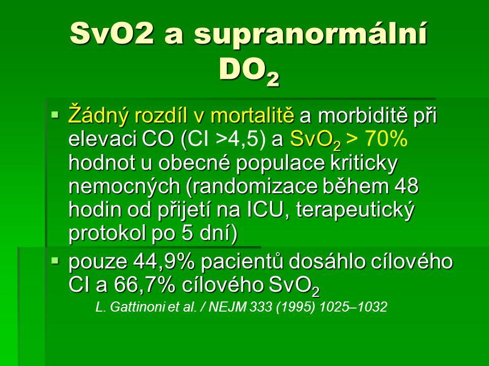 SvO2 a supranormální DO 2 SvO2 a supranormální DO 2  Žádný rozdíl v mortalitě a morbiditě při elevaci CO (a SvO 2 hodnot u obecné populace kriticky n