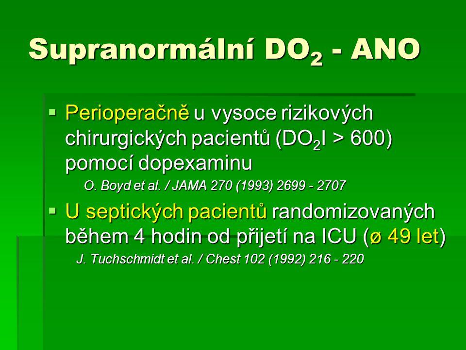 Supranormální DO 2 - ANO  Perioperačně u vysoce rizikových chirurgických pacientů (DO 2 I > 600) pomocí dopexaminu O. Boyd et al. / JAMA 270 (1993) 2