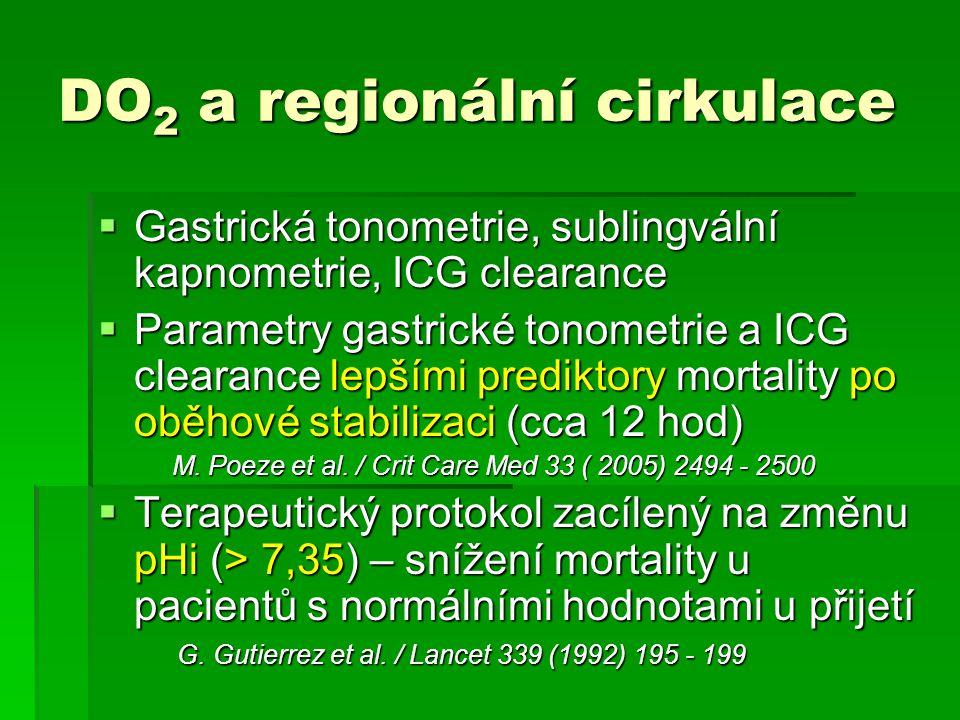 DO 2 a regionální cirkulace  Gastrická tonometrie, sublingvální kapnometrie, ICG clearance  Parametry gastrické tonometrie a ICG clearance lepšími p