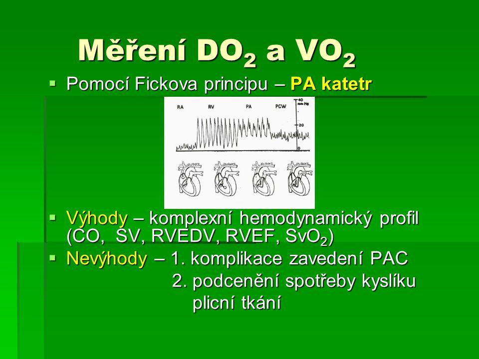 Měření DO 2 a VO 2 Měření DO 2 a VO 2  Pomocí Fickova principu – PA katetr  Výhody – komplexní hemodynamický profil (CO, SV, RVEDV, RVEF, SvO 2 ) 