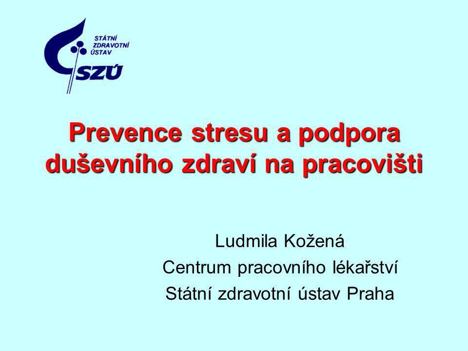 Prevence stresu a podpora duševního zdraví na pracovišti Ludmila Kožená Centrum pracovního lékařství Státní zdravotní ústav Praha
