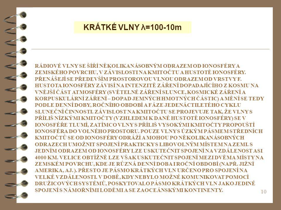 10 KRÁTKÉ VLNY λ=100-10m RÁDIOVÉ VLNY SE ŠÍŘÍ NĚKOLIKANÁSOBNÝM ODRAZEM OD IONOSFÉRY A ZEMSKÉHO POVRCHU, V ZÁVISLOSTI NA KMITOČTU A HUSTOTĚ IONOSFÉRY.