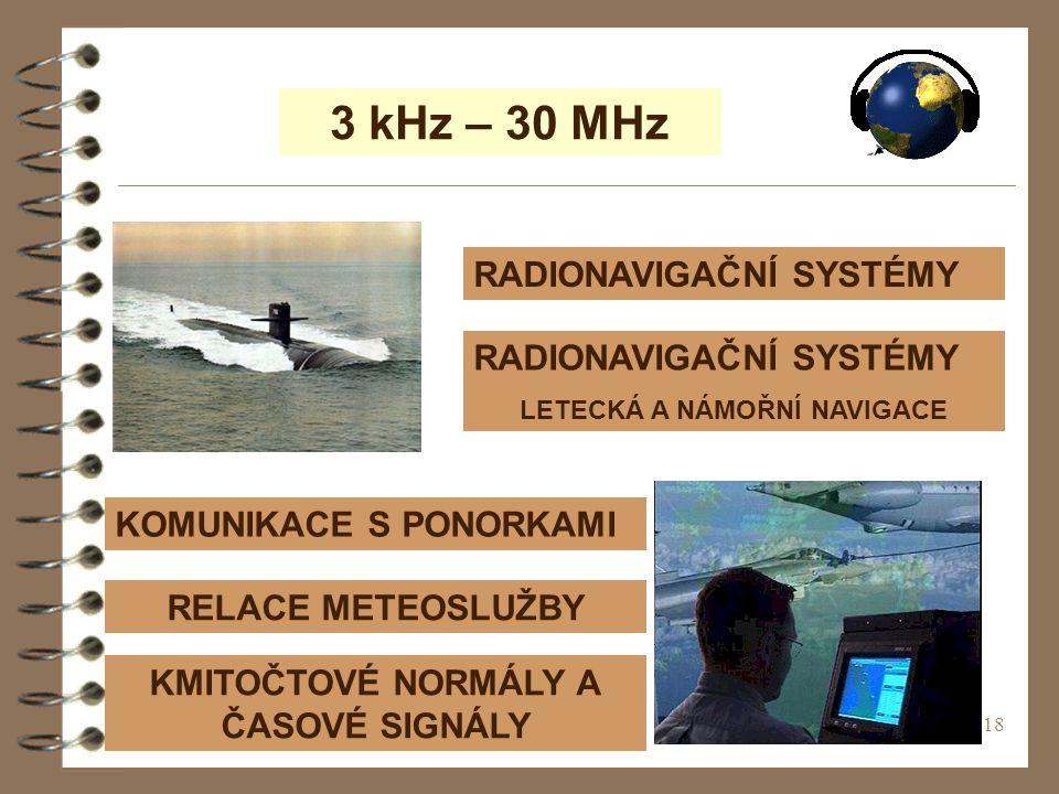 18 3 kHz – 30 MHz RADIONAVIGAČNÍ SYSTÉMY RELACE METEOSLUŽBY KOMUNIKACE S PONORKAMI KMITOČTOVÉ NORMÁLY A ČASOVÉ SIGNÁLY RADIONAVIGAČNÍ SYSTÉMY LETECKÁ