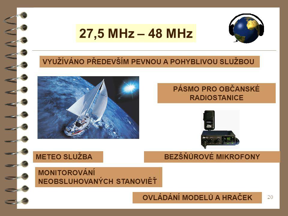 20 27,5 MHz – 48 MHz VYUŽÍVÁNO PŘEDEVŠÍM PEVNOU A POHYBLIVOU SLUŽBOU METEO SLUŽBA PÁSMO PRO OBČANSKÉ RADIOSTANICE BEZŠŇŮROVÉ MIKROFONY OVLÁDÁNÍ MODELŮ