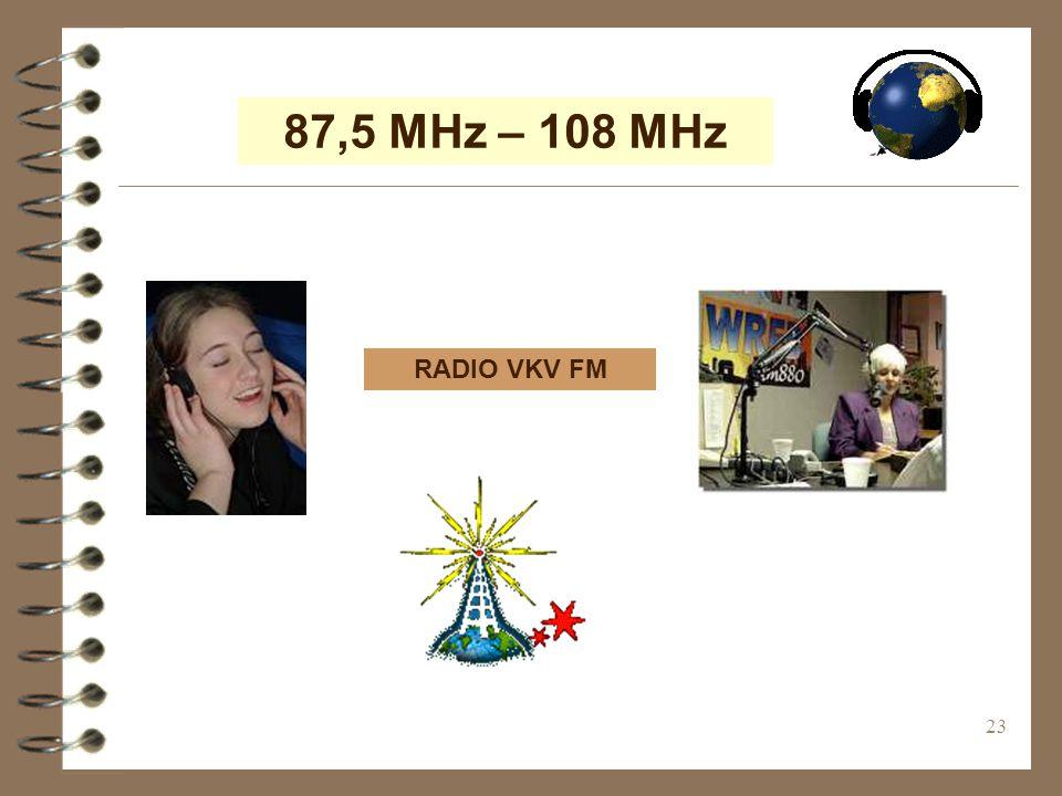 23 87,5 MHz – 108 MHz RADIO VKV FM