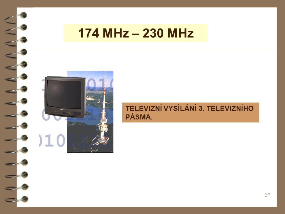 27 174 MHz – 230 MHz TELEVIZNÍ VYSÍLÁNÍ 3. TELEVIZNÍHO PÁSMA.
