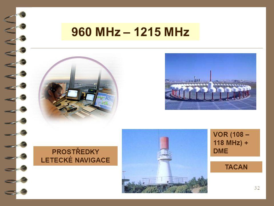 32 960 MHz – 1215 MHz PROSTŘEDKY LETECKÉ NAVIGACE VOR (108 – 118 MHz) + DME TACAN