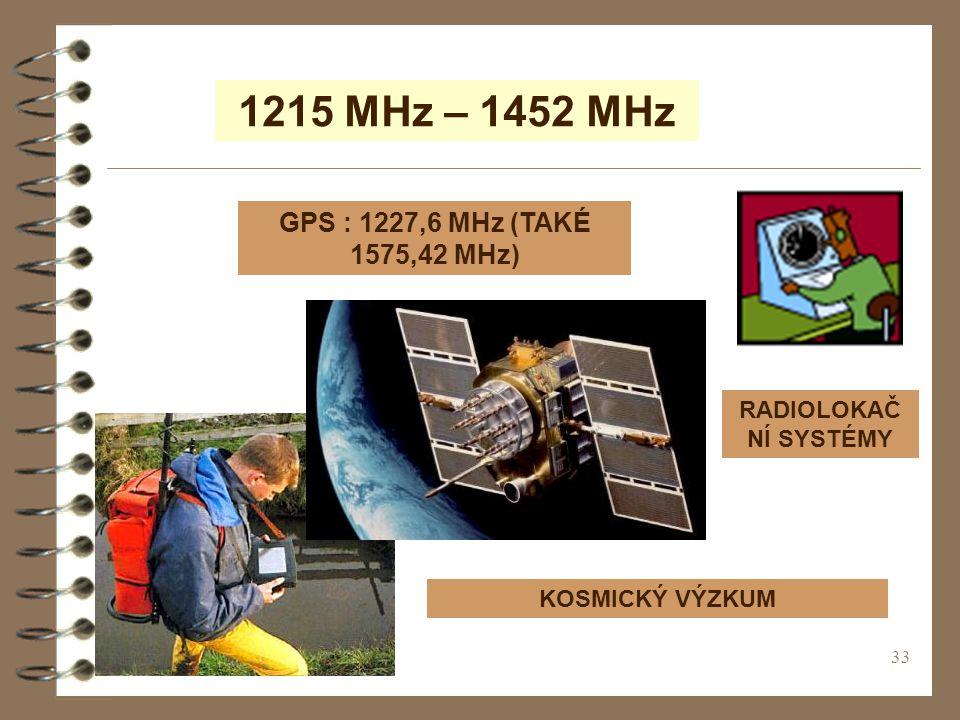 33 1215 MHz – 1452 MHz GPS : 1227,6 MHz (TAKÉ 1575,42 MHz) RADIOLOKAČ NÍ SYSTÉMY KOSMICKÝ VÝZKUM