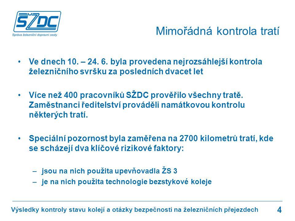 Kontrola ukázala, že nejhorší situace na celostátních tratích je v oblasti jižní Moravy, kterou spravuje SDC Brno.