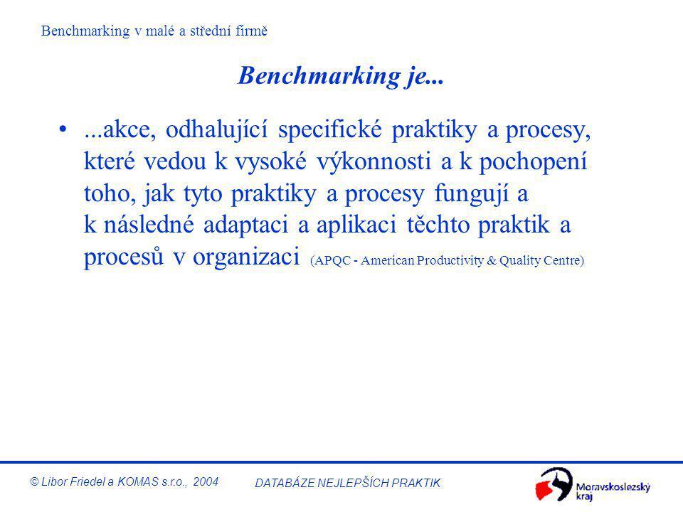 DATABÁZE NEJLEPŠÍCH PRAKTIK © Libor Friedel a KOMAS s.r.o., 2004 Úvod do benchmarkingu