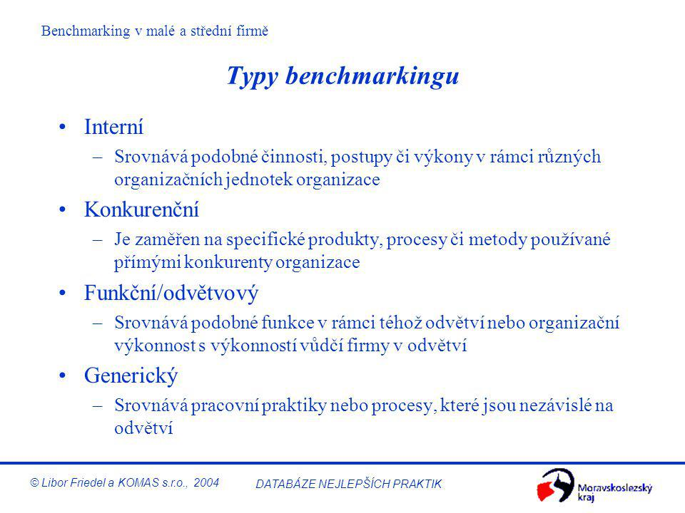 Benchmarking v malé a střední firmě © Libor Friedel a KOMAS s.r.o., 2004 DATABÁZE NEJLEPŠÍCH PRAKTIK Přístupy k benchmarkingu Výkonový Srovnání relati