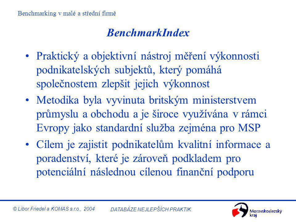 DATABÁZE NEJLEPŠÍCH PRAKTIK © Libor Friedel a KOMAS s.r.o., 2004 BenchmarkIndex