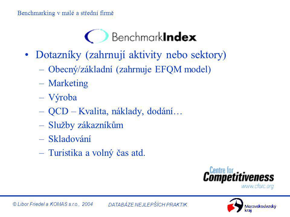 Benchmarking v malé a střední firmě © Libor Friedel a KOMAS s.r.o., 2004 DATABÁZE NEJLEPŠÍCH PRAKTIK S čím se firma srovnává (stav 9/2004)? Finanční ú