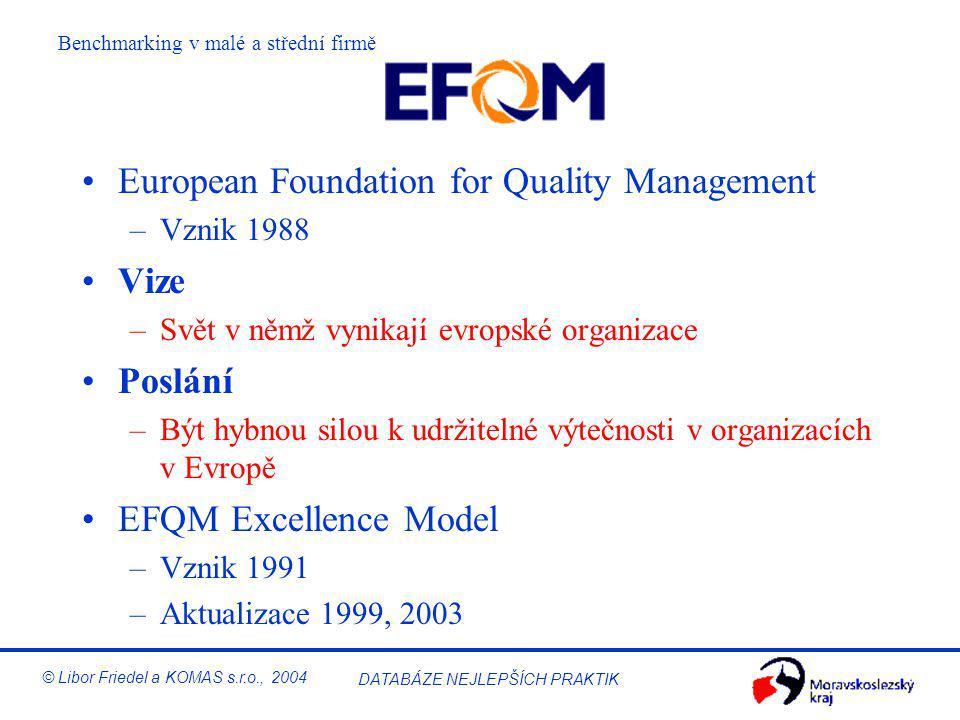 DATABÁZE NEJLEPŠÍCH PRAKTIK © Libor Friedel a KOMAS s.r.o., 2004 EFQM Excellence Model