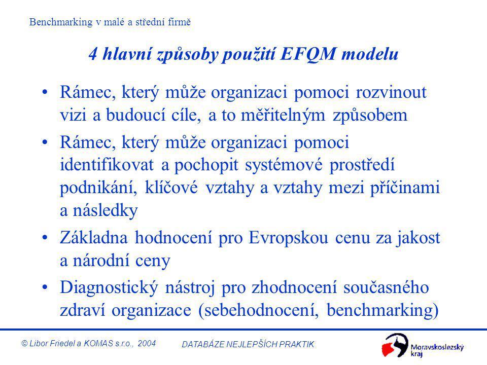 Benchmarking v malé a střední firmě © Libor Friedel a KOMAS s.r.o., 2004 DATABÁZE NEJLEPŠÍCH PRAKTIK EFQM Excellence Model Lidé 9% Politika a strategi