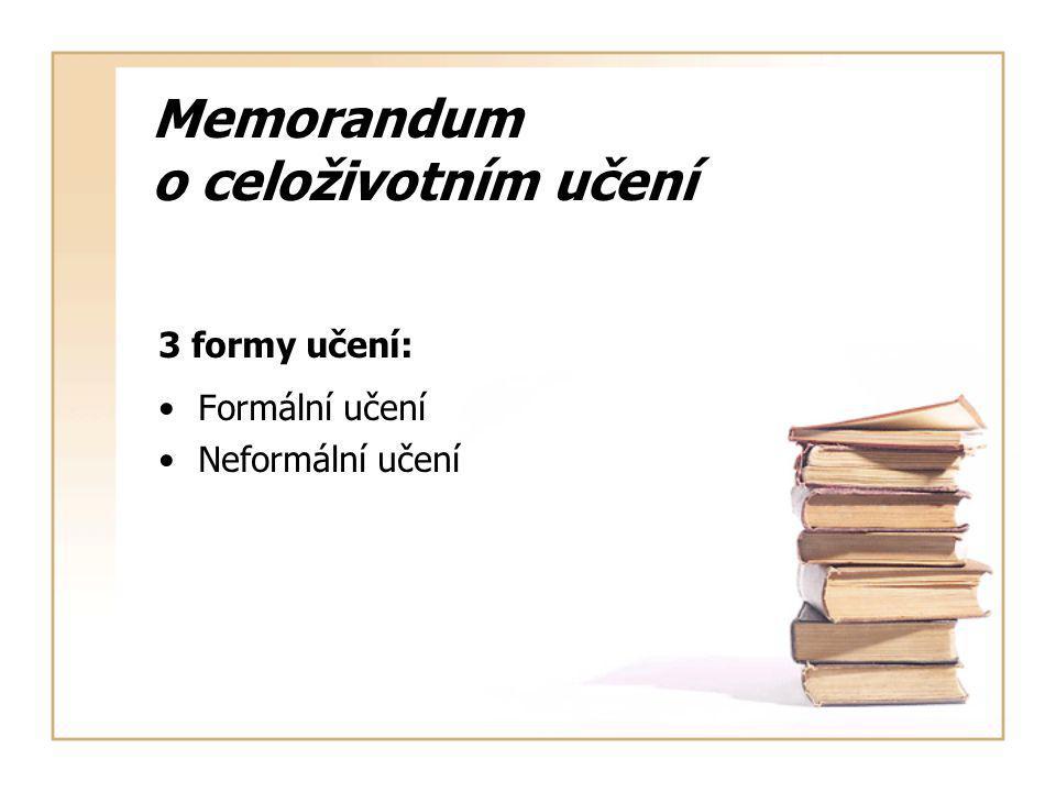 Memorandum o celoživotním učení 3 formy učení: Formální učení Neformální učení