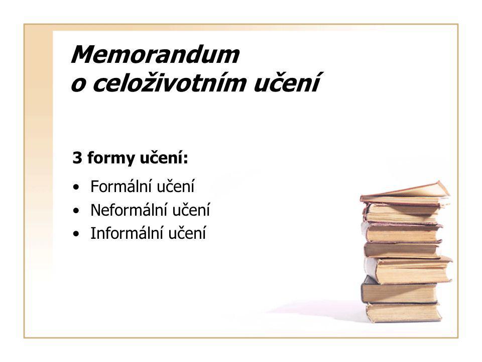 Memorandum o celoživotním učení 3 formy učení: Formální učení Neformální učení Informální učení