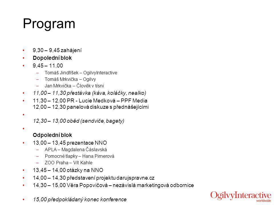 Program 9,30 – 9,45 zahájení Dopolední blok 9,45 – 11,00 –Tomáš Jindříšek – OgilvyInteractive –Tomáš Mrkvička – Ogilvy –Jan Mrkvička – Člověk v tísni 11,00 – 11,30 přestávka (káva, koláčky, nealko) 11,30 – 12,00 PR - Lucie Medková – PPF Media 12,00 – 12,30 panelová diskuze s přednášejícími 12,30 – 13,00 oběd (sendviče, bagety) Odpolední blok 13,00 – 13,45 prezentace NNO –APLA – Magdalena Čáslavská –Pomocné tlapky – Hana Pirnerová –ZOO Praha – Vít Kahle 13,45 – 14,00 otázky na NNO 14,00 – 14,30 představení projektu darujspravne.cz 14,30 – 15,00 Věra Popovičová – nezávislá marketingová odbornice 15,00 předpokládaný konec konference