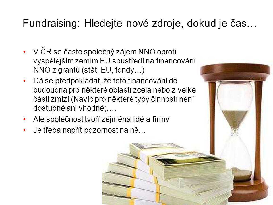 Fundraising: Hledejte nové zdroje, dokud je čas… V ČR se často společný zájem NNO oproti vyspělejším zemím EU soustředí na financování NNO z grantů (stát, EU, fondy…) Dá se předpokládat, že toto financování do budoucna pro některé oblasti zcela nebo z velké části zmizí (Navíc pro některé typy činností není dostupné ani vhodné)….
