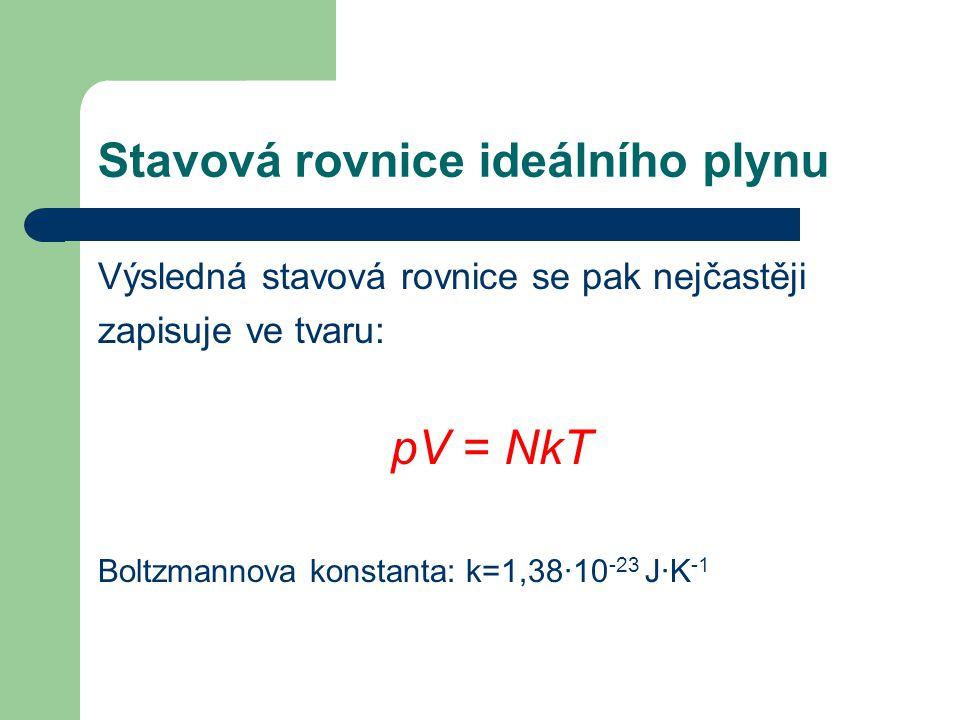 Stavová rovnice ideálního plynu Výsledná stavová rovnice se pak nejčastěji zapisuje ve tvaru: pV = NkT Boltzmannova konstanta: k=1,38·10 -23 J·K -1