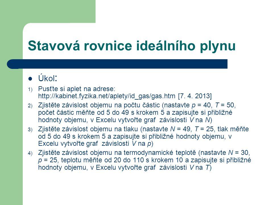 Stavová rovnice ideálního plynu Úkol : 1) Pusťte si aplet na adrese: http://kabinet.fyzika.net/aplety/id_gas/gas.htm [7.