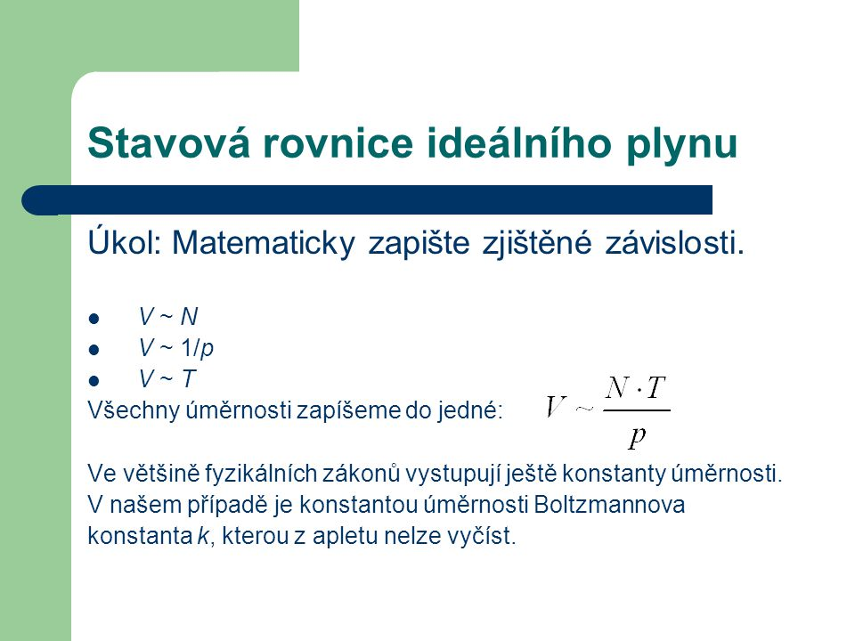Stavová rovnice ideálního plynu Úkol: Matematicky zapište zjištěné závislosti.
