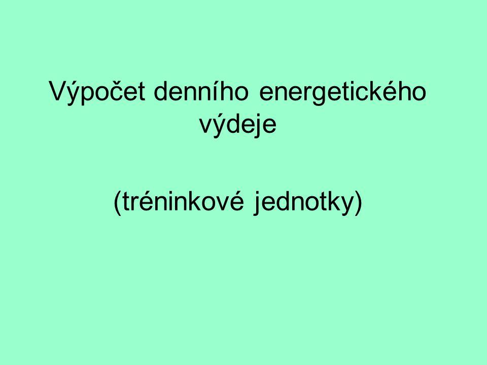 Výpočet denního energetického výdeje (tréninkové jednotky)