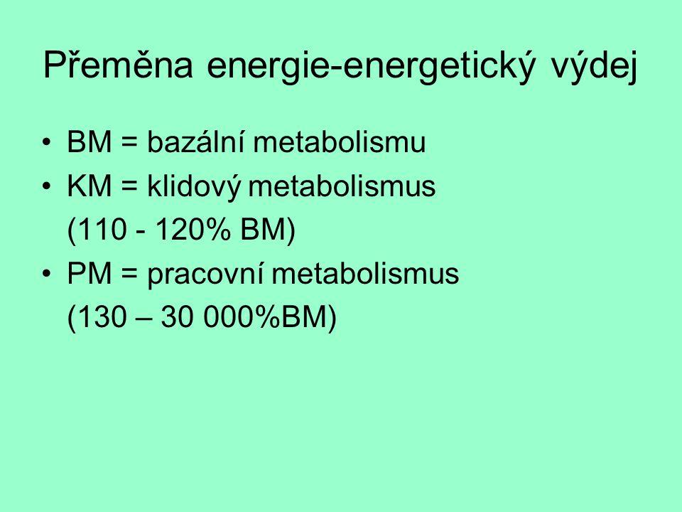 Přeměna energie-energetický výdej BM = bazální metabolismu KM = klidový metabolismus (110 - 120% BM) PM = pracovní metabolismus (130 – 30 000%BM)