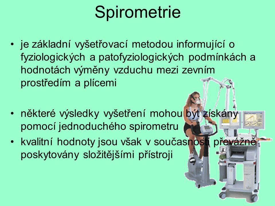 Spirometrie je základní vyšetřovací metodou informující o fyziologických a patofyziologických podmínkách a hodnotách výměny vzduchu mezi zevním prostř